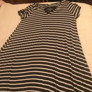Striped dress with Cris cross v neck plus size